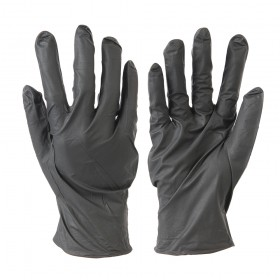Silverline Black Nitrile Gloves Powder-Free Large 100pk - 564059