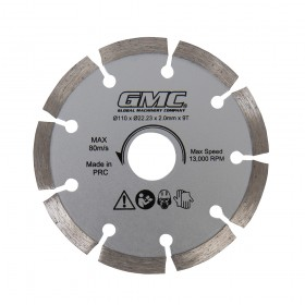 110 x 22.23 x 2mm x 9T Diamond Saw Blade for GMC GTS1500 Track Saw - 564293