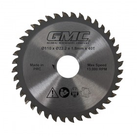 110 x 22.23mm 40T TCT Saw Blade for GMC GTS1500 Track Saw - 586371