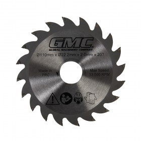 110 x 22.23mm 20T TCT Saw Blade for GMC GTS1500 Track Saw - 776182