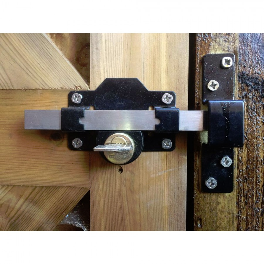 Gatemate Euro Security Shed//Gate Lock 70mm Double Lock Long Throw Chrome Handle
