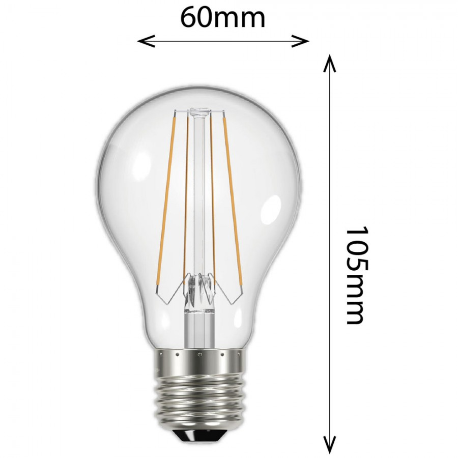 affinity 6 2w 60w filament led gls es e27 clear light bulb warm white non dimmable led0047. Black Bedroom Furniture Sets. Home Design Ideas