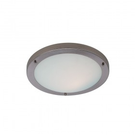 Firstlight Rondo Flush Fitting Brushed Steel with Opal Glass
