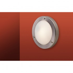 Firstlight Rondo Wall / Flush Fitting Brushed Steel with Opal Glass