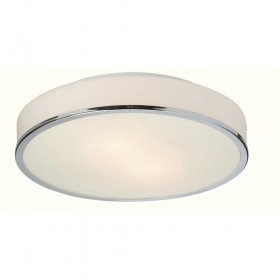 Firstlight Profile Flush Fitting - Round Chrome with Opal Glass
