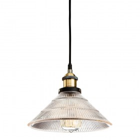 Firstlight 5902AB Empire Pendant Antique Brass with Clear Fluted Glass
