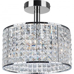 Firstlight Pearl 4 Light Semi Flush Fitting Chrome with Crystal