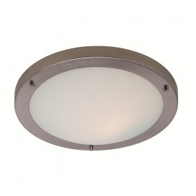 Firstlight Rondo LED Flush Fitting Brushed Steel with Opal Glass