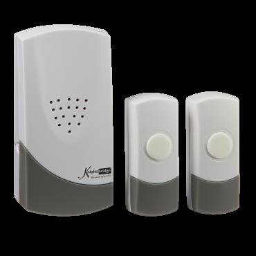 Knightsbridge DC007 Wireless Dual Entrance Door Chime Kit - White (100M Range)