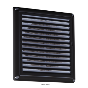 "Knightsbridge EX0010B 150mm/6"" Extractor Fan Grille With Fly Screen - Black"