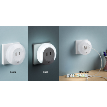 Knightsbridge Plug In LED Night Light With Dual Usb Charger Ports 5V DC 2.1A