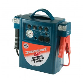 Silverline Jump Starter Air Compressor & Inverter 15Ah