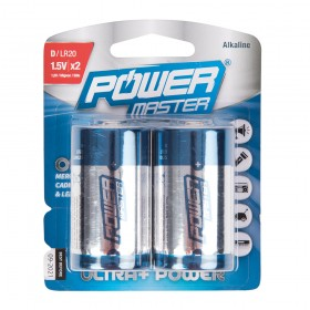 Powermaster D-Type Super Alkaline Battery LR20 2pk - 485322