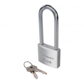 Silverline Long Shackle Aluminium Padlock 50mm Long Shackle - 622257