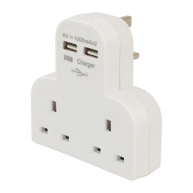 PowerMaster Dual Socket T Adaptor with Twin USB 2100mAh Combined - 819066