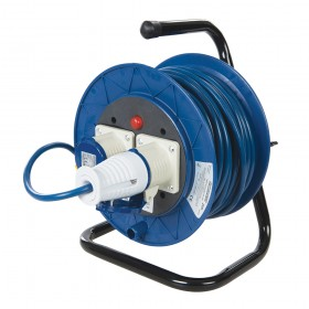 Powermaster Industrial Cable Reel 16A 230V Freestanding 2-Gang 25m - 851543