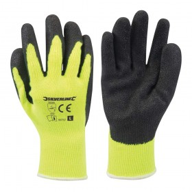 Silverline Hi-Vis Builders Gloves Yellow Large – 907757
