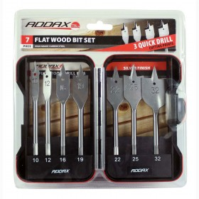 Addax Flat Wood Bit Set 7pce
