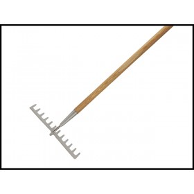Faithfull Garden Rake Stainless Steel - Wooden Handled