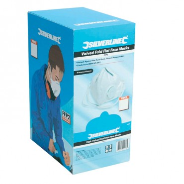 Silverline Fold Flat Valved Face Mask FFP2 NR Box 25pk – 282404